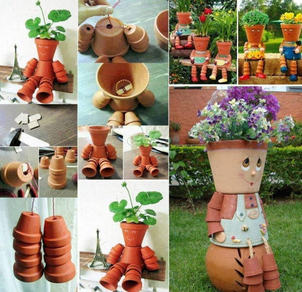 bricolage jardin avec des pots en terre cuite figurine
