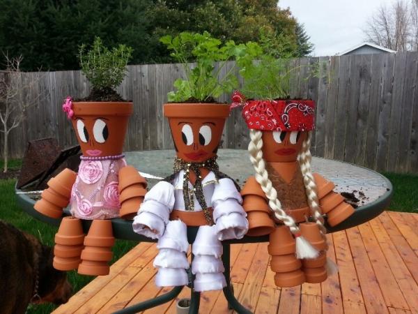 bricolage jardin avec des pots en terre cuite figurines jardinières
