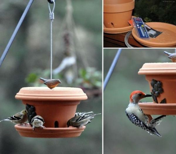 bricolage jardin avec des pots en terre cuite mangeoire oiseaux