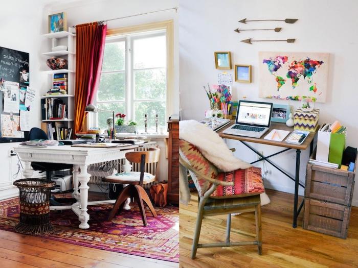 bureau à domicile en style boho