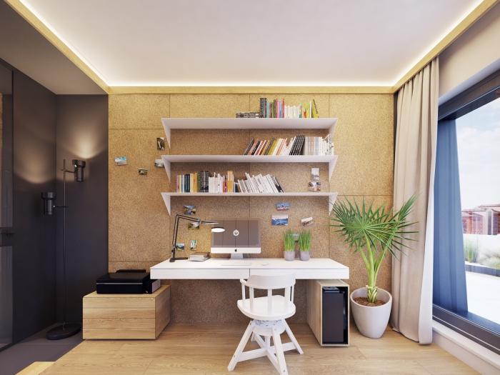 bureau à domicile grande fenêtre et rideaux longs