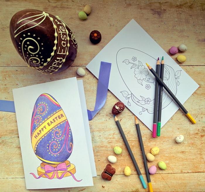 carte joyeuses pâques à dessiner