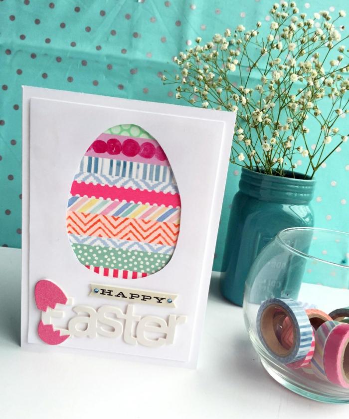 carte joyeuses pâques avec du washi tape