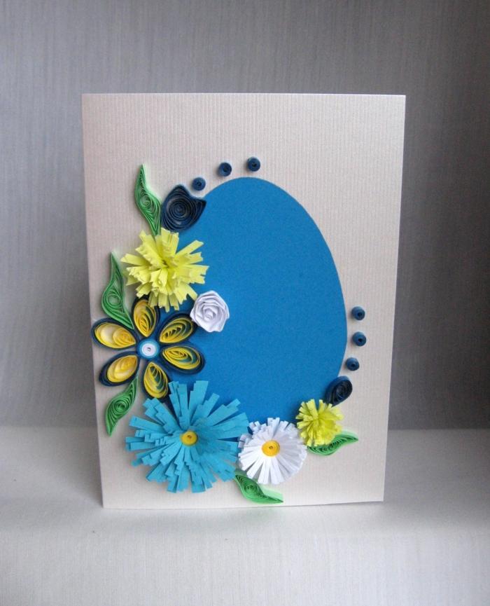 carte joyeuses pâques oeuf en papier bleu