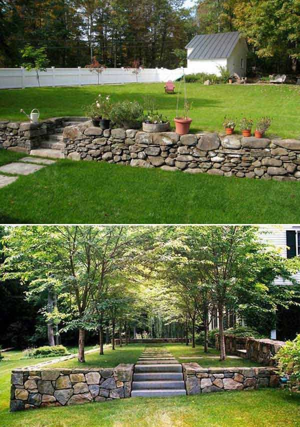 construire un mur de soutènement en pierre jardin en pente