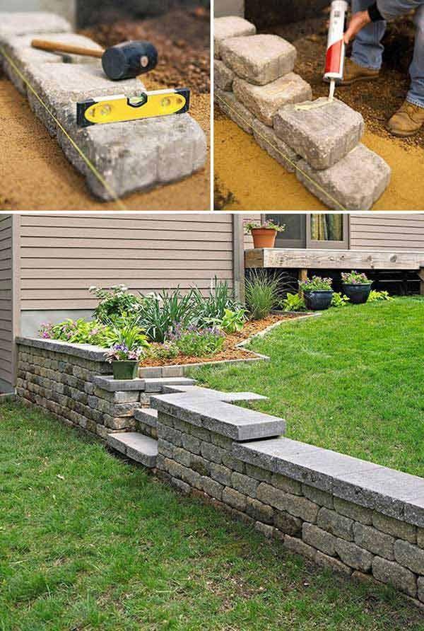 construire un mur de soutènement jardin en blocs de béton et pierres