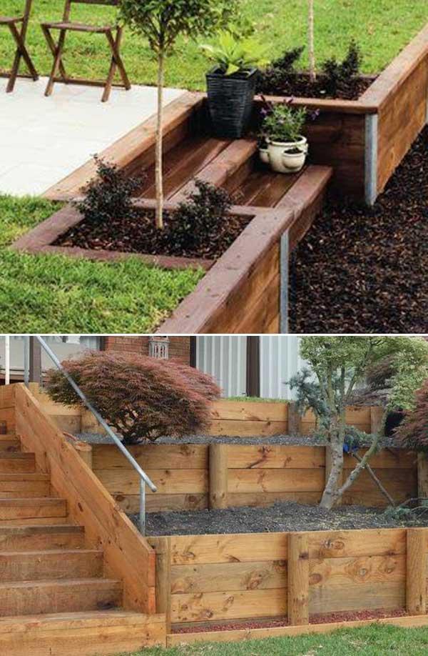 construire un mur de soutènement jardin en bois de pin