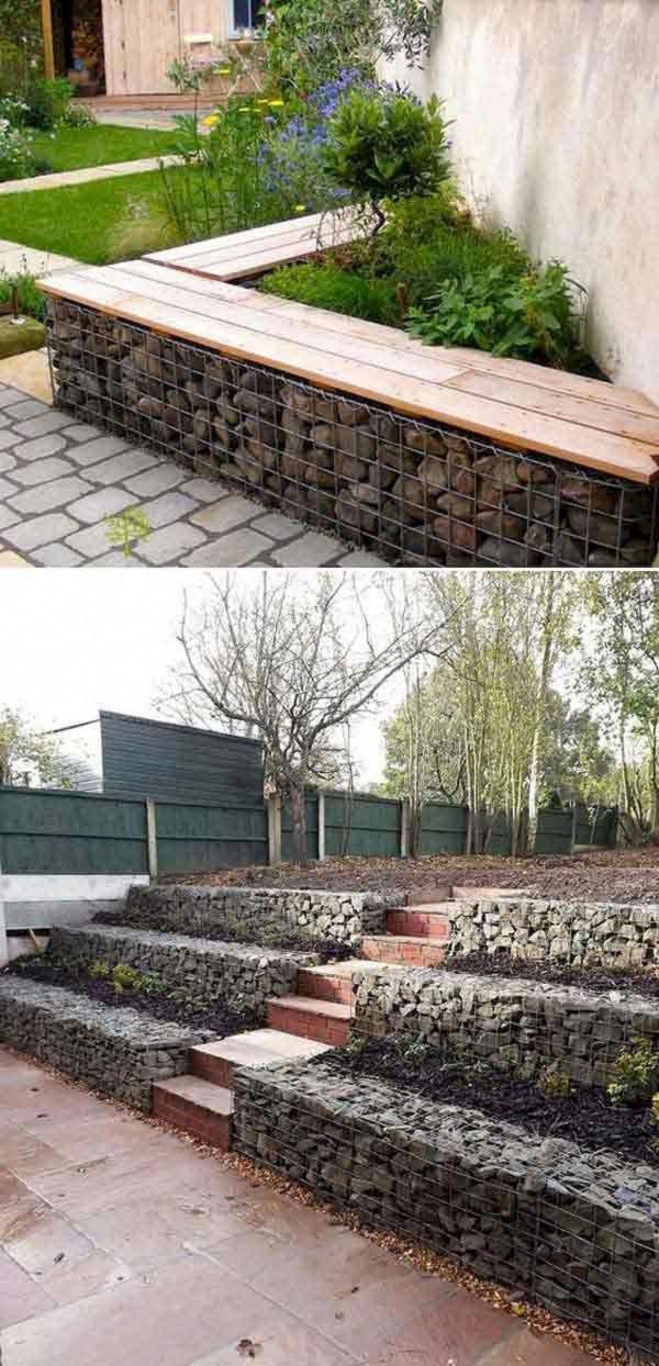 construire un mur de soutènement jardin en gabion