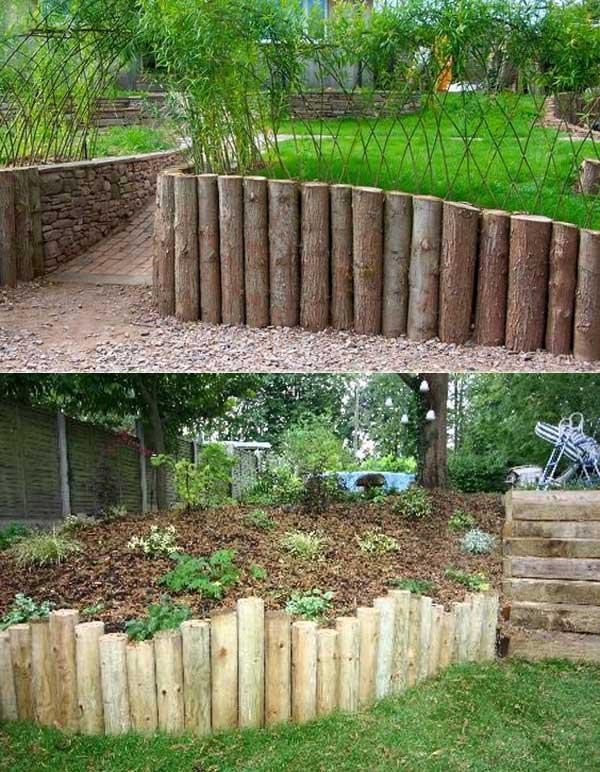 construire un mur de soutènement jardin en rondins de bois