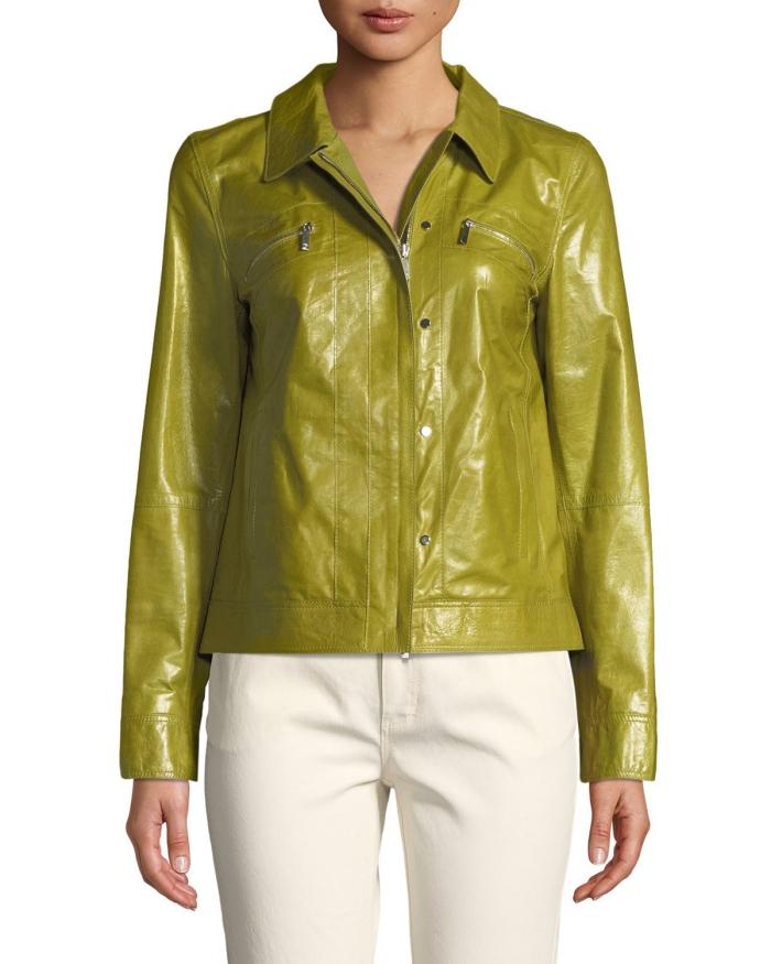 cuir laqué veste courte coupe classique