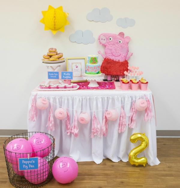 déco anniversaire peppa pig table de gourmandises