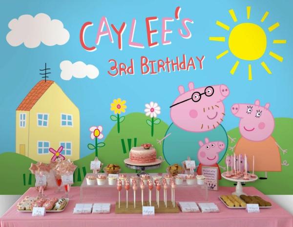 déco anniversaire peppa pig table de sucrerie