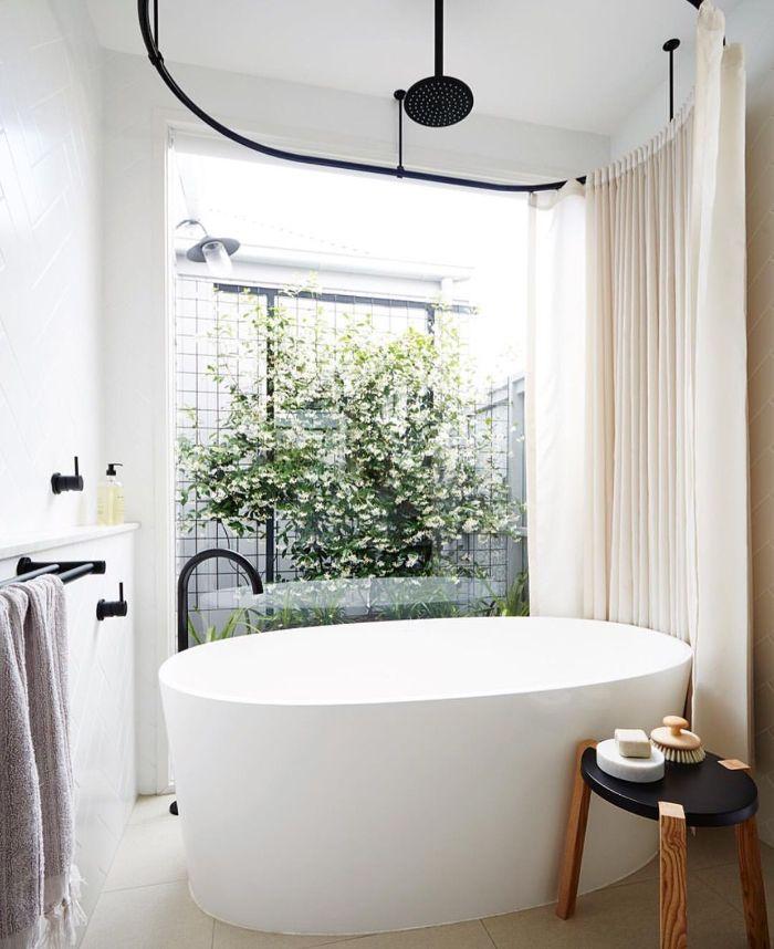 déco suite parentale salle de bain séparée avec rideau