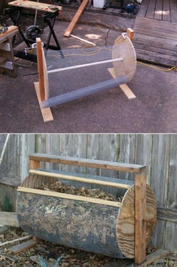 diy composteur de filet métallique et bois