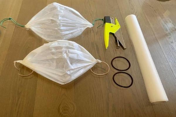 diy masque hygiénique anti-coronavirus fait à partir de papier sulfurisé