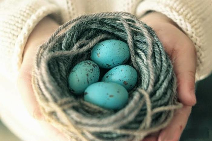 faire un nid de pâques à partir du fil laine