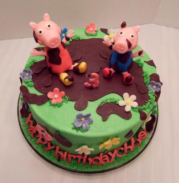 gâteau peppa pig et george pig dans la flaque de boue