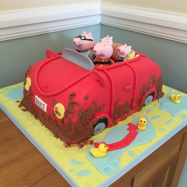 gâteau peppa pig les cochons en route