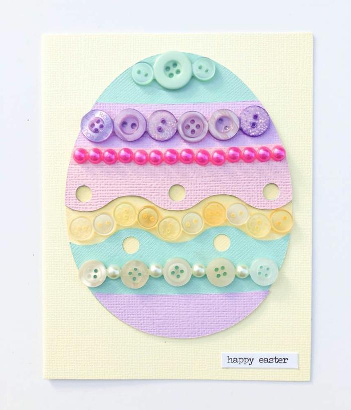 idée carte joyeuses pâques avec des boutons