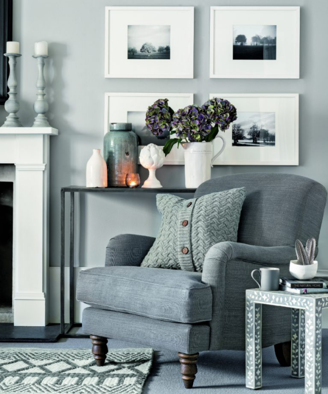 idée déco salon gris confortable, chaleureux et accueillant