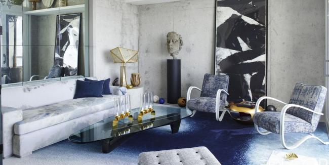 idée déco salon gris penthouse magnifique