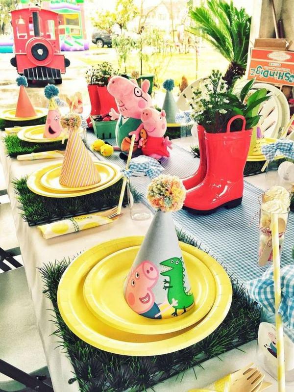 idée de déco anniversaire peppa pig table festive