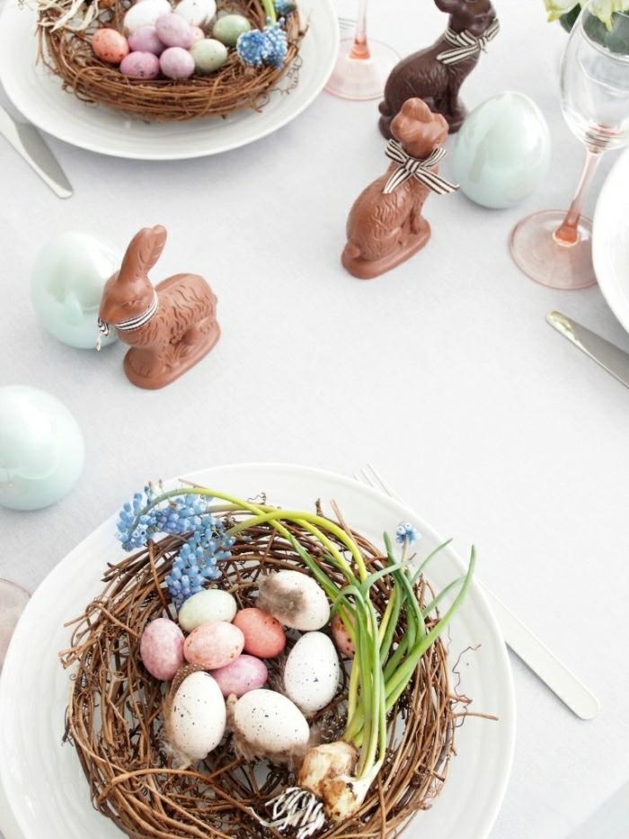 idée diy nid de pâques à faire pour décorer la table