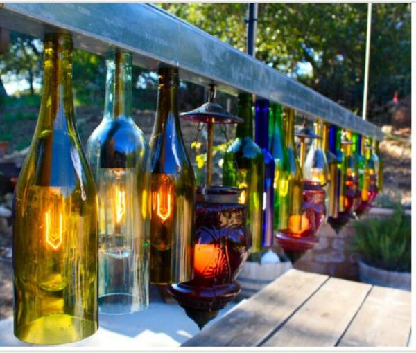lanterne extérieur à poser grande taille bouteilles de vin