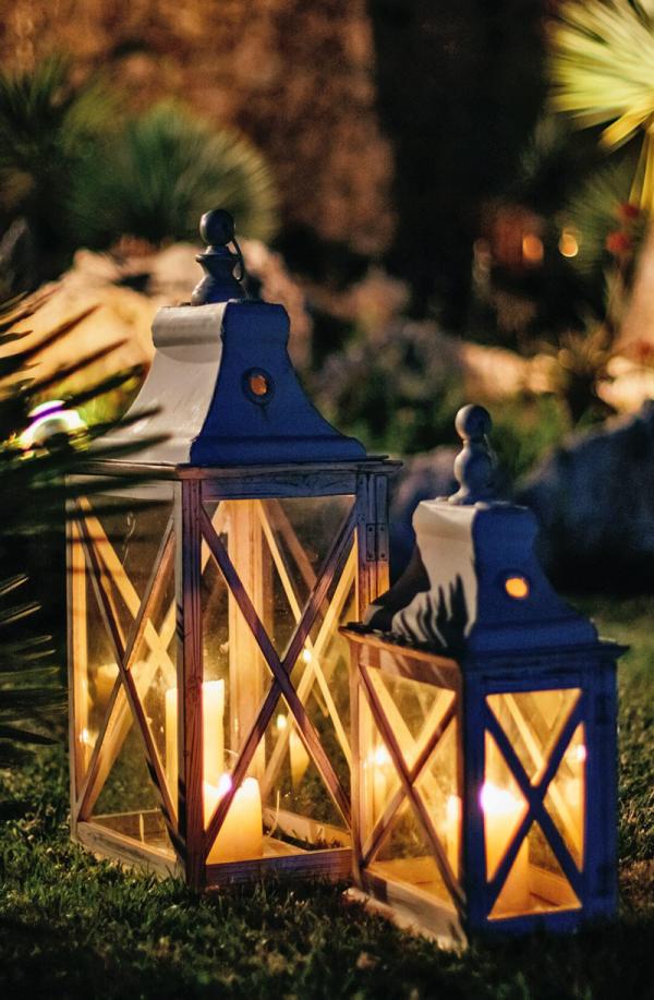 lanterne extérieur à poser grande taille en bois vitré