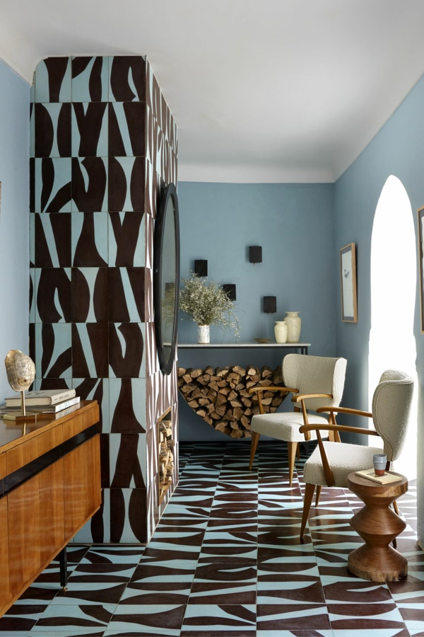 peinture géométrique bleu clair et noir salon