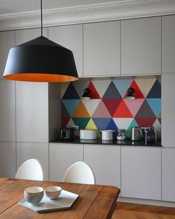 peinture géométrique crédence cuisine
