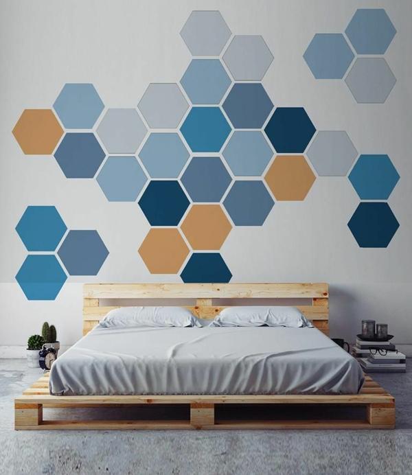 peinture géométrique hexagones chambre à coucher