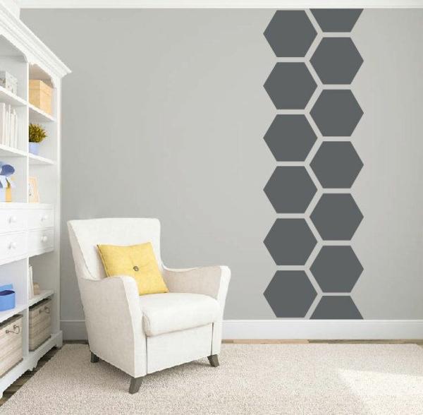 peinture géométrique hexagones salon