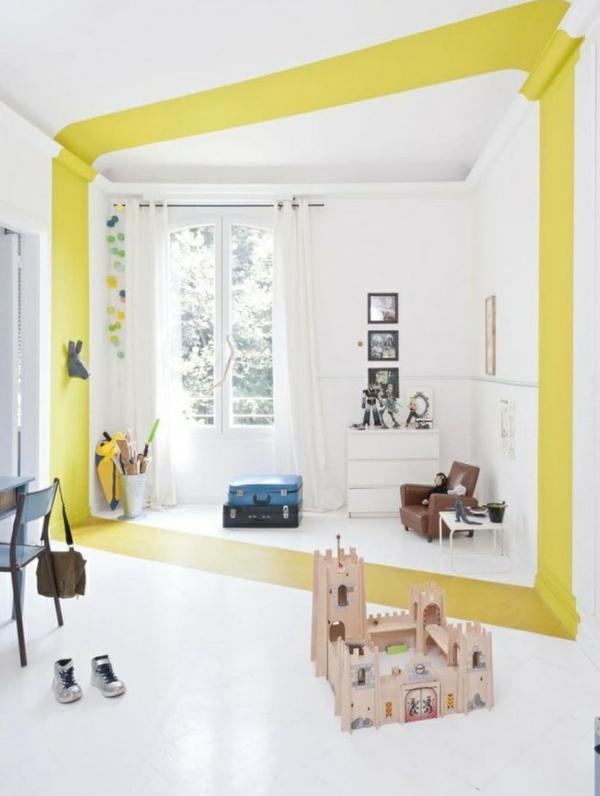 peinture géométrique jaune et blanc chambre d'enfant