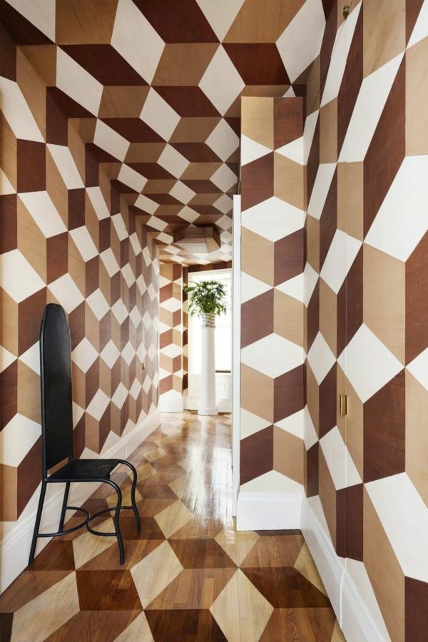 peinture géométrique losanges couloir
