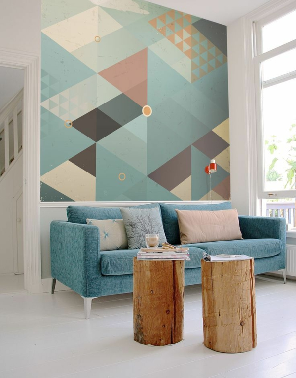 peinture géométrique mur d'accent salon