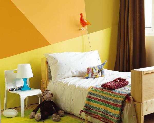 peinture géométrique nuances de jaune chambre d'enfant