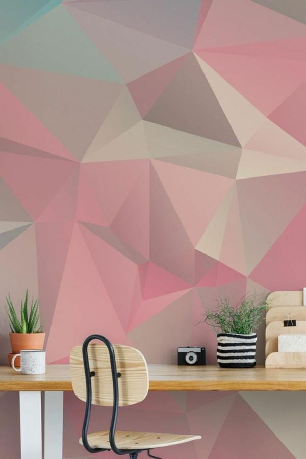 peinture géométrique nuances de rose coin de travail