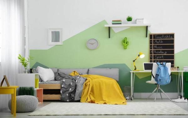 peinture géométrique nuances de vert et blanc chambre d'enfant