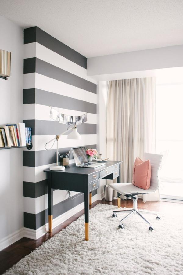peinture géométrique rayures chambre coin de travail