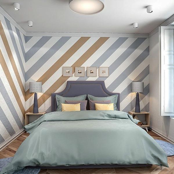 peinture géométrique rayures diagonales chambre