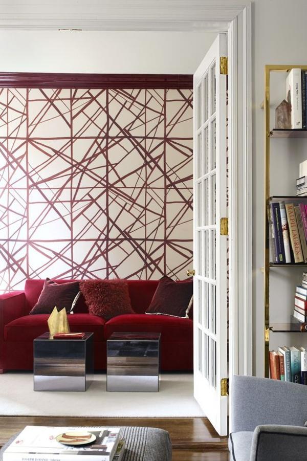 peinture géométrique salon lignes graphiques rouges