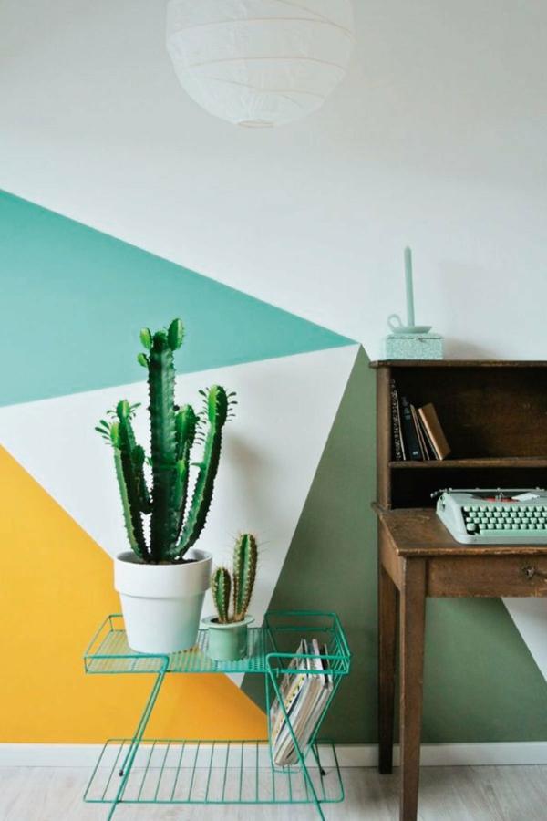peinture géométrique tons frais coin bureau