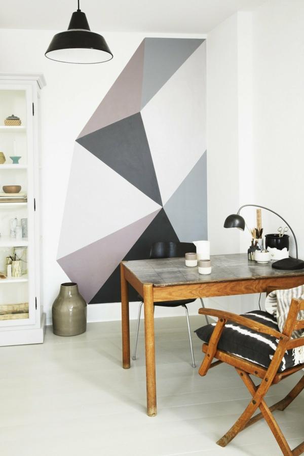 peinture géométrique tons neutres coin bureau