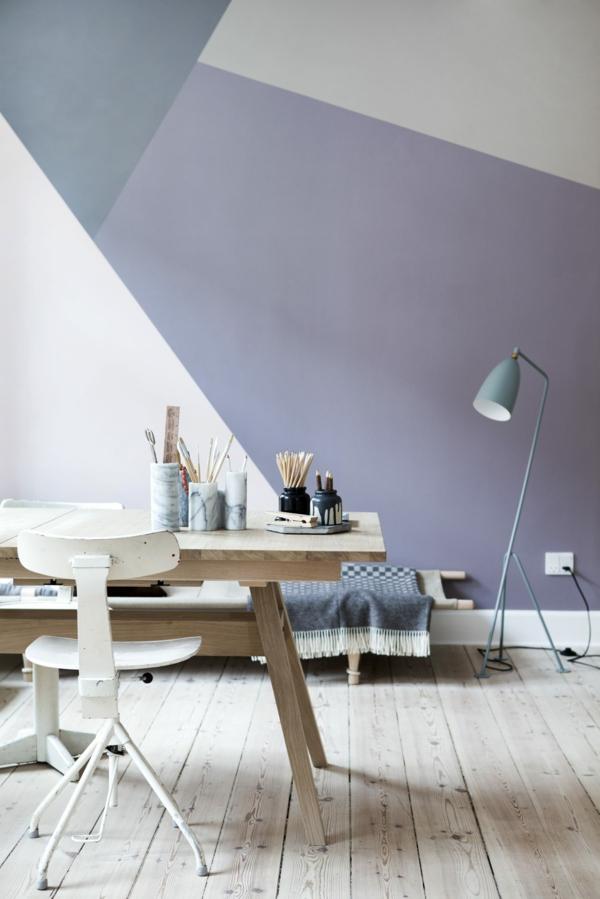 peinture géométrique tons pastel coin de travail