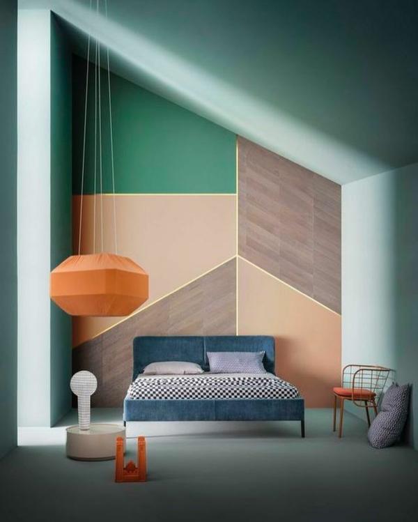 peinture géométrique tons terrestres chambre à coucher
