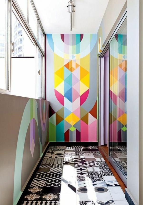 peinture géométrique tons vibrants balcon