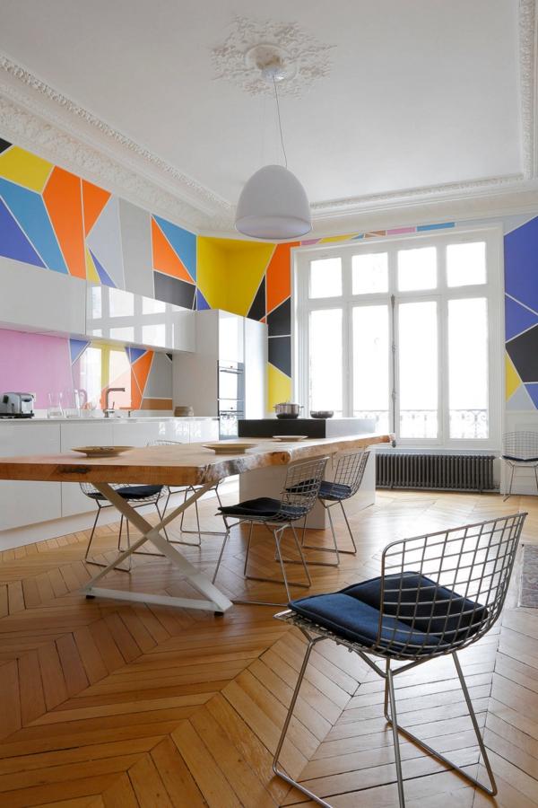 peinture géométrique tons vifs cuisine