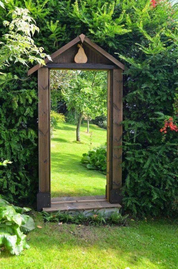 portillon de jardin cadre de bois