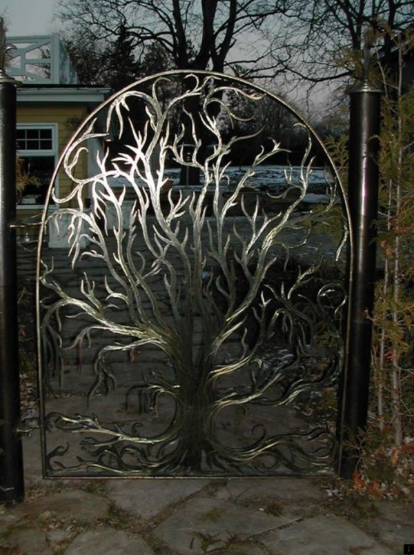 portillon de jardin design arbre en ferv forgé